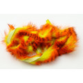 Tiger Barred Magnum Rabbit Strips - Orange/ Black over Fl Yellow Chartreuse
