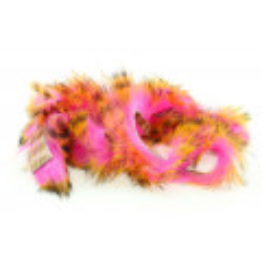 Tiger Barred Rabbit Strips - Black Barred Hot Orange/ Fl. Hot Pink